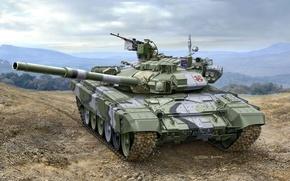 Картинка арт, художник, танк, Россия, полигон, пулеметы, учения, вооружение, российский, НСВТ, калибр, ОБТ, или, 125-мм, 62-мм, ...