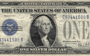 Обои silver, blue, Dollar, one, Washington You