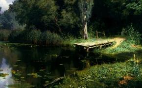 Картинка картина, Поленов, Заросший пруд