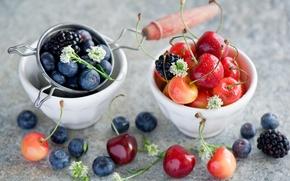 Обои ягоды, посуда, Anna Verdina, лето, черешня, ежевика, черника
