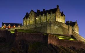 Картинка ночь, замок, Синяя, величественный