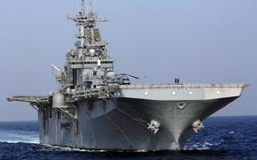 Картинка океан, вертолеты, универсальный, десантный корабль, USS Boxer LHD4
