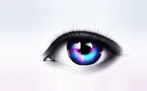 Картинка взгляд, глаз, звёзды, арт