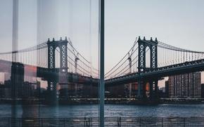 Обои мост, город, отражение, окно, США, Нью Йорк