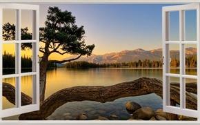 Картинка Sunset, Mountains, Lake, Window