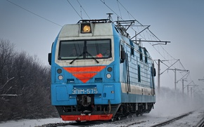 Картинка зима, рельсы, lokomotive