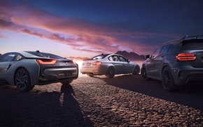 Картинка i8, BMW, M3, GLA45 AMG, Cars, Sunset, Mercedes-Benz