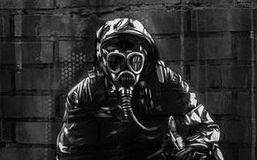 Картинка поверхность, стена, граффити, текстура, маска, автомат, противогаз, graffiti, сталкер, военный, снаряжение, кирпичная, выживший, wallpaper., street …