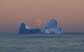 Обои айсберг, вечер, бледная луна, тихоокеанский сектор Южного океана, море Росса, Антарктида