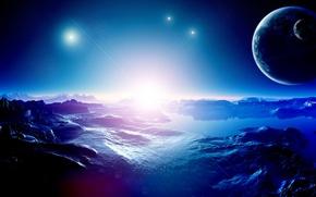 Картинка blue, stars, planets