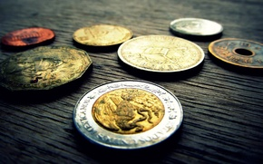 Картинка silver, metal, Golden, coin