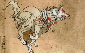 Картинка прыжок, рисунок, волк, серый фон, божество, Okami, Amaterasu