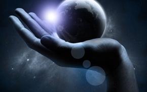 Обои Вселенная, Рука, Земля