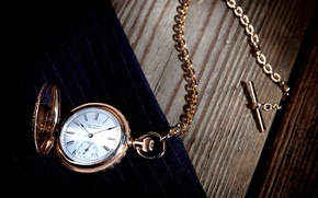 Картинка American Waltham, циферблат, часы, фон, цепочка, золото, карманные