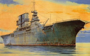 Картинка рисунок, корабль, USS Saratoga (CV-3), авианосец ВМС США