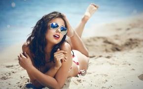 Картинка море, пляж, лето, девушка, отдых