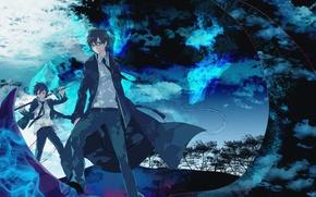Обои арт, братья, Синий экзорцист, Рин, Rin, синее пламя, ao no exorcist, Юкио, blue exorcist
