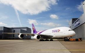 Обои Airbus, A380, Авиация, Облака, День, Крылья, Авиалайнер, Самолет