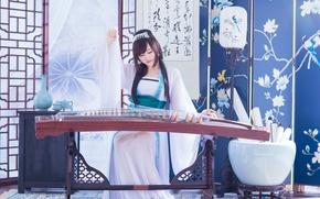 Картинка девушка, музыка, инструмент