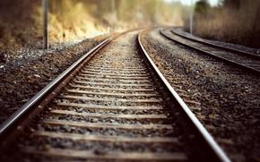 Картинка природа, фон, железная дорога