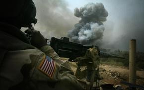 Обои usa, перестрелка, конвой, Iraq, взрыв, пулемет