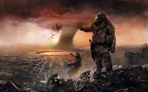 Картинка тучи, солдаты, разрушение, бойцы, панорама, развалины, город, экипировка, руины, Апокалипсис, небо, торнадо, противогазы, облака