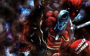 Картинка gun, marvel, comics, deadpool, heroes, ninja