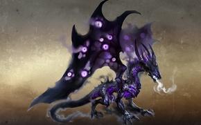 Картинка дракон, дым, крылья, дыхание, тени, art, wings, Герои Меча и Магии 6, dragon, castle, shadows, …