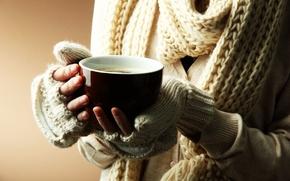 Картинка кружка, широкоэкранные, зима, HD wallpapers, обои, тепло, девушка, полноэкранные, background, руки, широкоформатные, настроения, фон, чашка, …