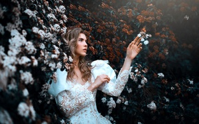 Картинка лицо, фон, модель, рука, платье, Ana