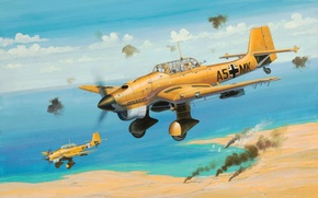 Картинка war, art, airplane, painting, aviation, ww2, Junkers Ju 87B Stuka