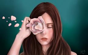 Картинка цветок, девушка, лицо, зеленый, фон, волосы, роза, рука, лепестки, арт, живопись, закрытые глаза, Gabrielle Ragusi