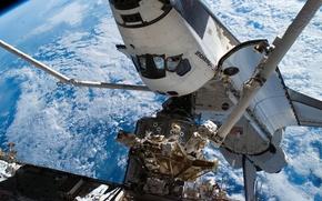 Картинка Космос, Земля, МКС, голубая планета, шаттл Endeavour