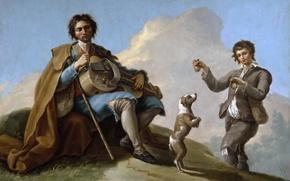 Картинка люди, собака, картина, жанровая, Рамон Байеу и Субиас, Слепой музыкант