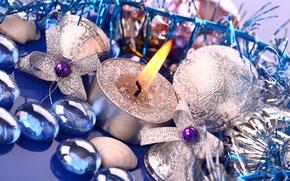 Картинка шарики, рождество, Новый год, праздник, Свечи