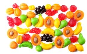 Картинка Фрукты, Бананы, Сладости, Еда, Малина, Персики, Fruit jelly candies