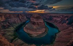 Картинка закат, тучи, река, вечер, Колорадо, каньон, Horseshoe Bend, Grand Canyon National Park