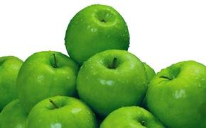 Картинка вода, капли, макро, яблоки, фрукты