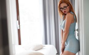 Обои blue dress, sexy, Justyna, redhead