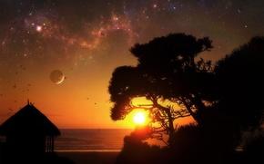 Обои солнце, звезды, ночь, восход