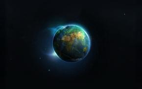 Обои 155, земля, планета, сияние