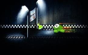 Картинка зеленый, маленький, монстрик, Formula 1, кубок, персонаж, Формулы-1, Cut the Rope, минимализм., любитель, участие, принимает, …