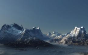 Картинка пейзаж, горы, туман, скалы, ландшафт, пик