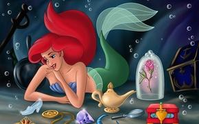 Обои flowers, Walt Disney, фанарт, русалка, fanart, сундук, princess, sea, диадема Авроры, туфелька Золушки, fantasy world, ...