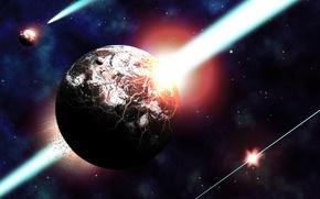 Картинка космос, лучи, трещины, планеты, разрушение