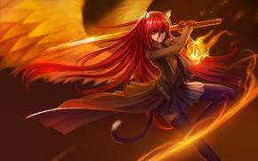Картинка девушка, оружие, огонь, магия, крылья, катана, аниме, арт, ушки, Shakugan no Shana, Shana, hanshu