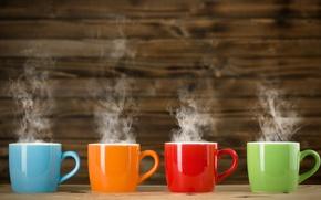 Обои цвета, оранжевый, синий, красный, зеленый, пар, чашки, разноцветные