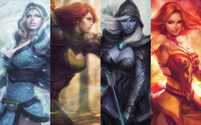Картинка игры, девушки, game, дота 2, Defense of the Ancients, Dota 2, drow ranger, lina, crystal …