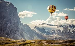 Картинка небо, пейзаж, горы, шары, спорт