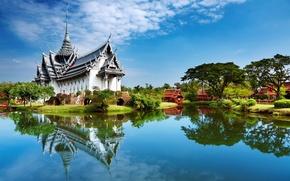 Картинка озеро, домики, дворец